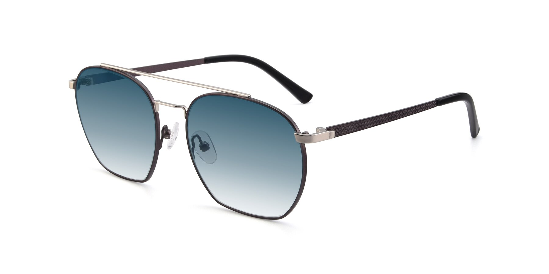 Angle of 9425 in Black-Silver with Blue Gradient Lenses