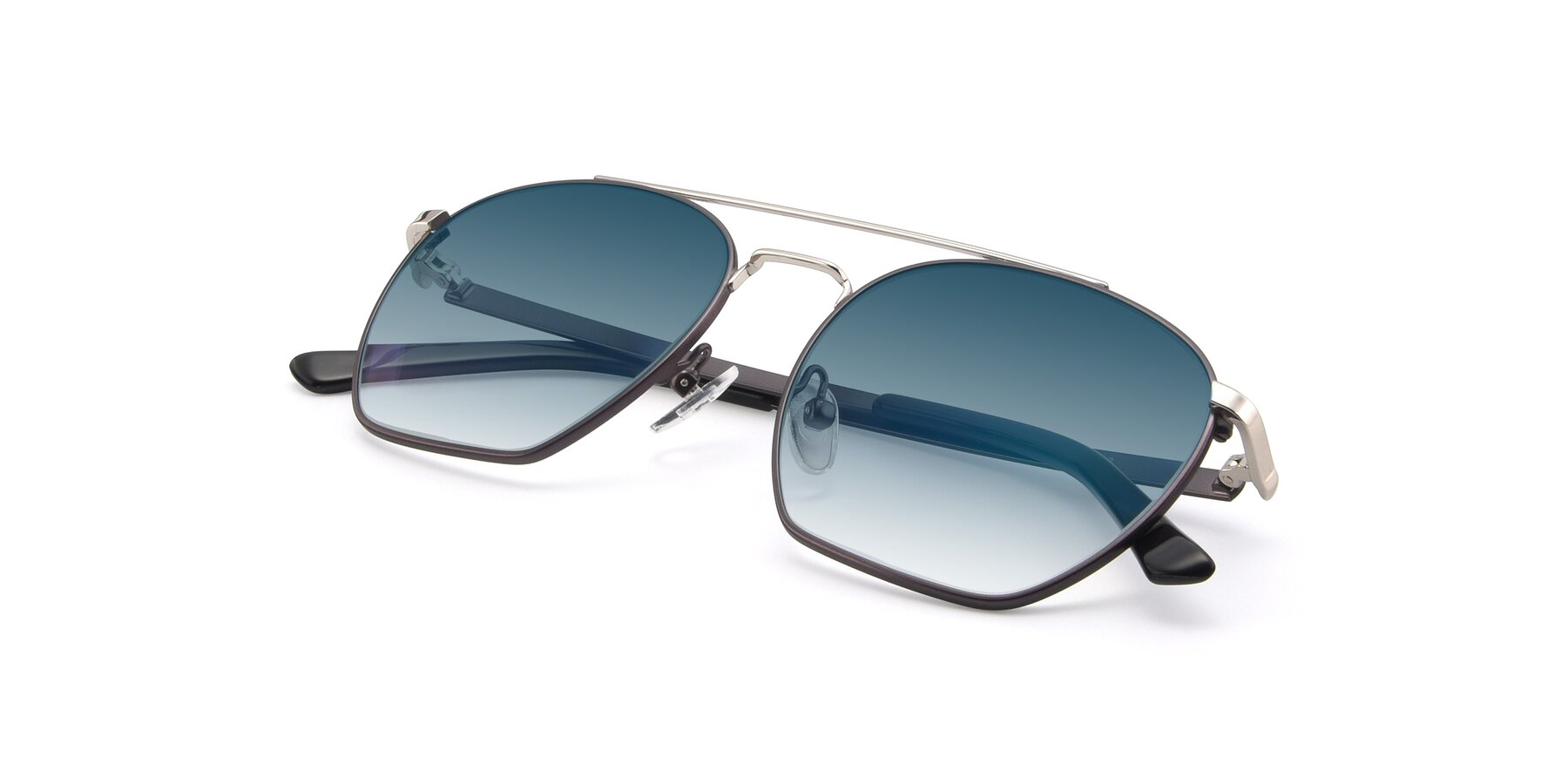 View of 9425 in Black-Silver with Blue Gradient Lenses