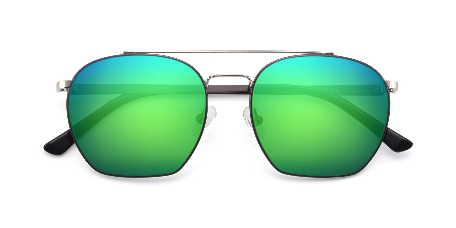 Folded Front of 9425 in Black-Silver with Green Mirrored Lenses