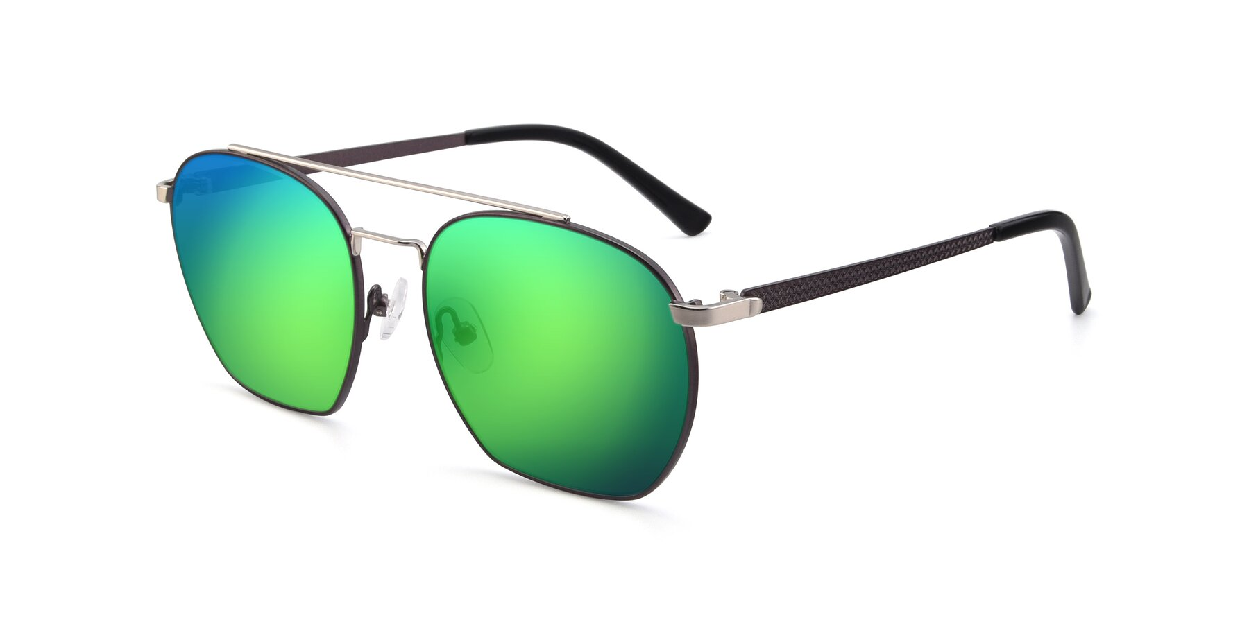 Angle of 9425 in Black-Silver with Green Mirrored Lenses