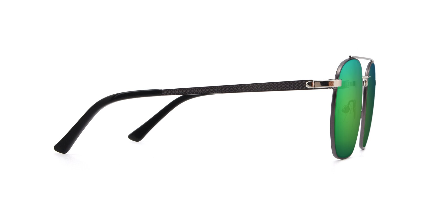 Side of 9425 in Black-Silver with Green Mirrored Lenses