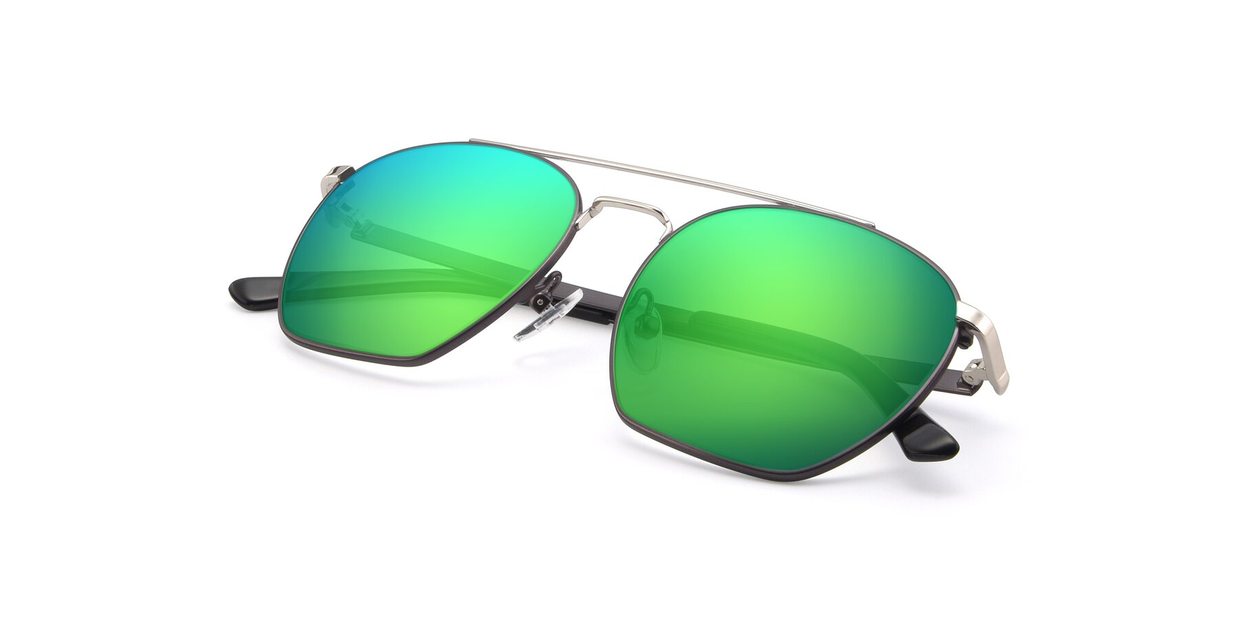 View of 9425 in Black-Silver with Green Mirrored Lenses