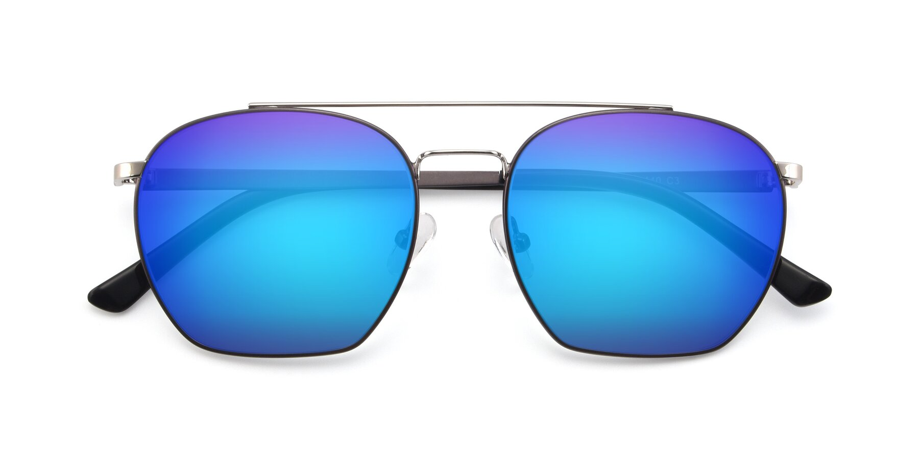 Folded Front of 9425 in Black-Silver with Blue Mirrored Lenses