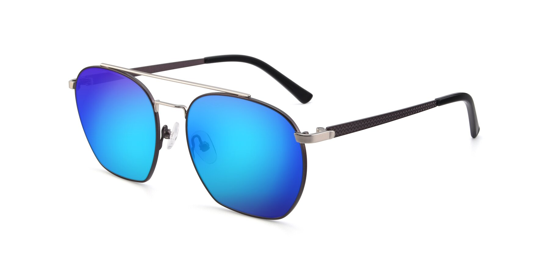Angle of 9425 in Black-Silver with Blue Mirrored Lenses