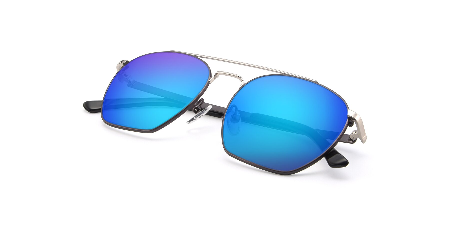 View of 9425 in Black-Silver with Blue Mirrored Lenses