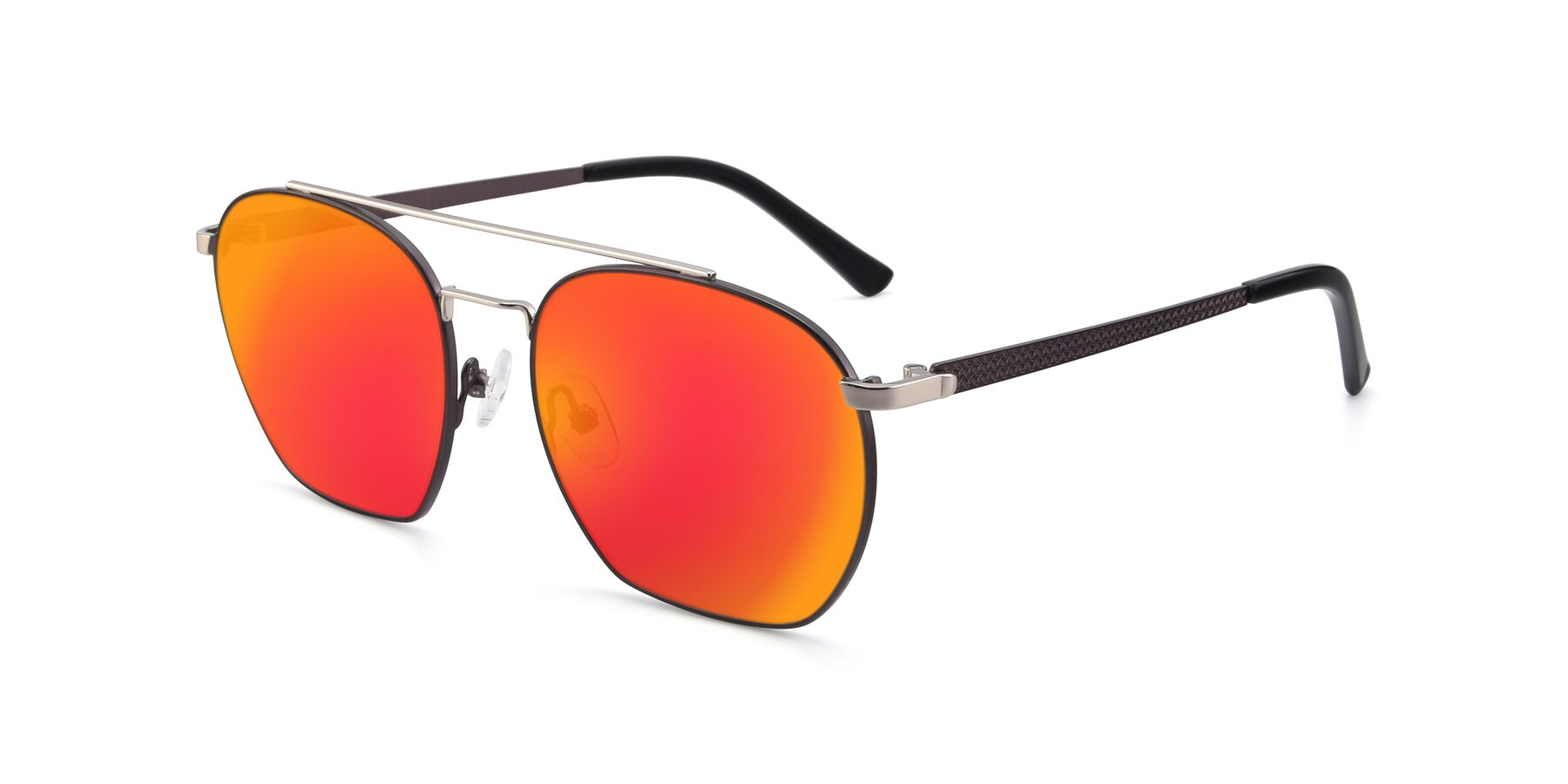 Angle of 9425 in Black-Silver with Red Gold Mirrored Lenses