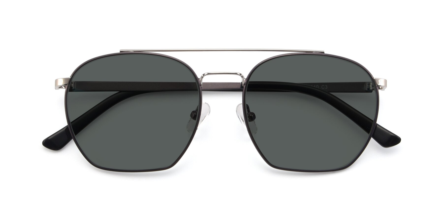 Folded Front of 9425 in Black-Silver with Gray Polarized Lenses