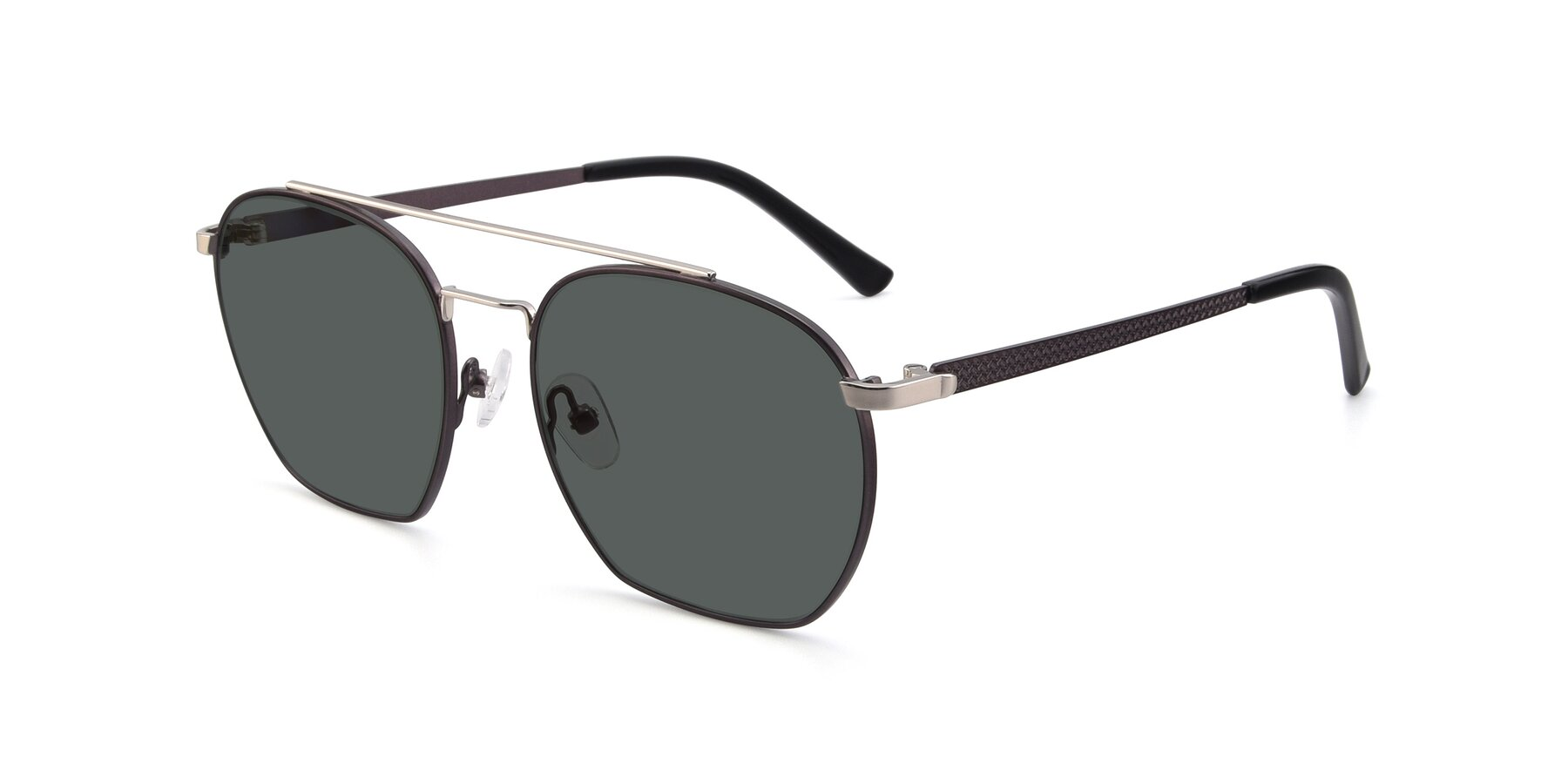 Angle of 9425 in Black-Silver with Gray Polarized Lenses
