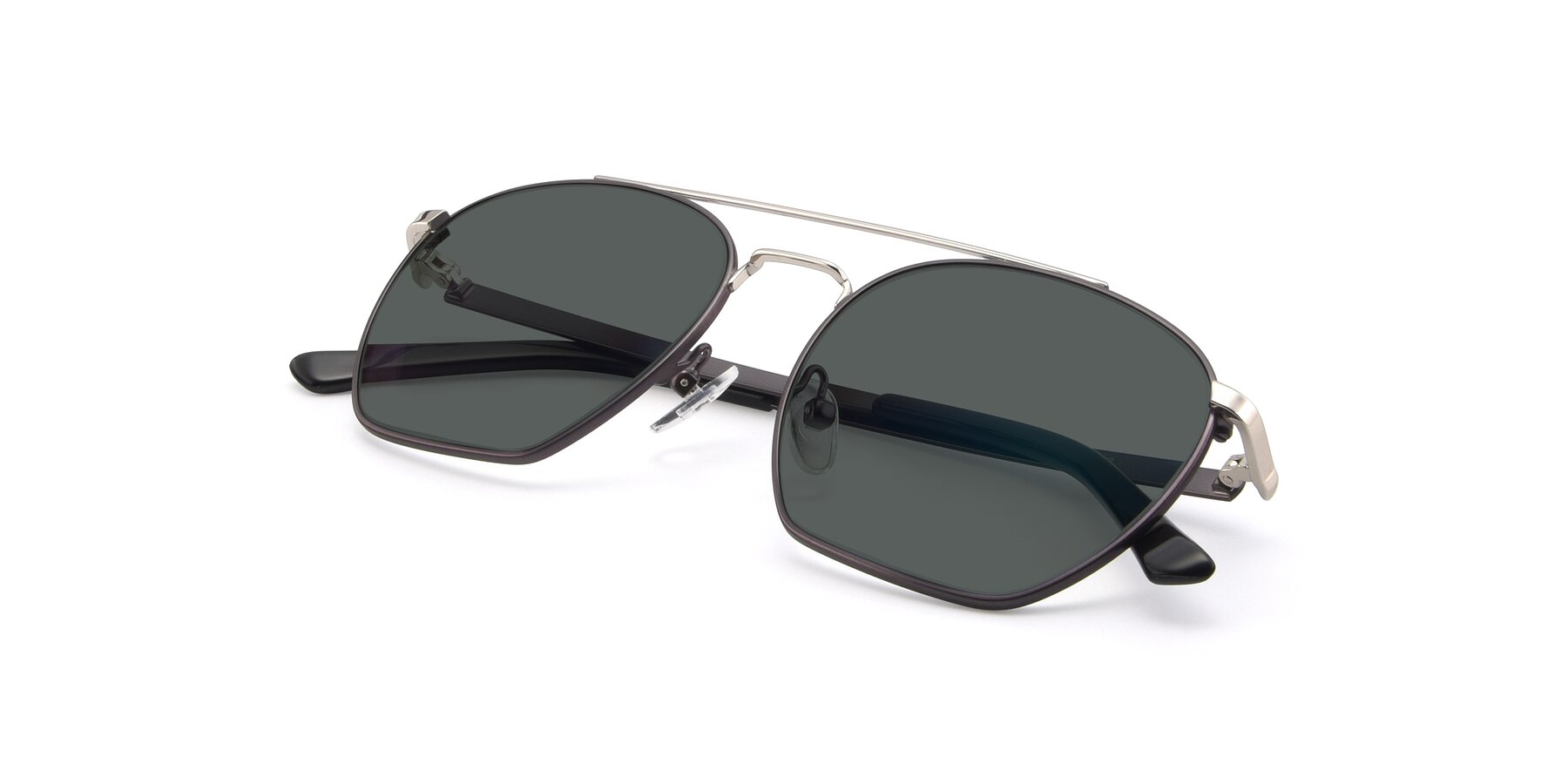 View of 9425 in Black-Silver with Gray Polarized Lenses