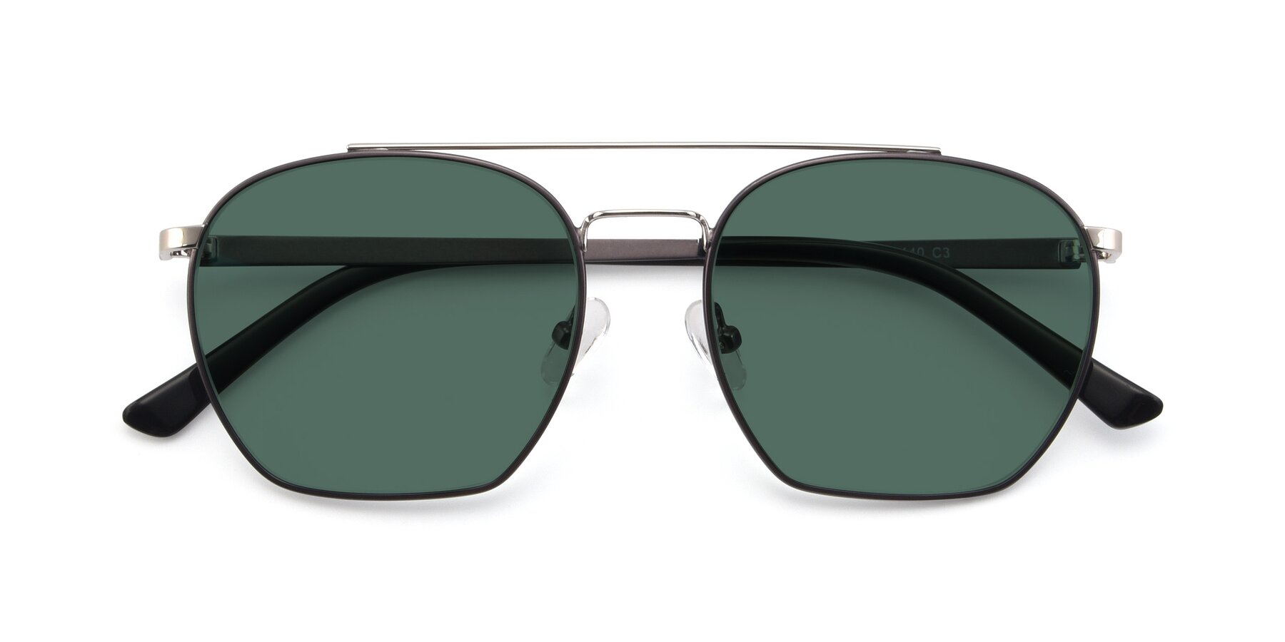 Folded Front of 9425 in Black-Silver with Green Polarized Lenses