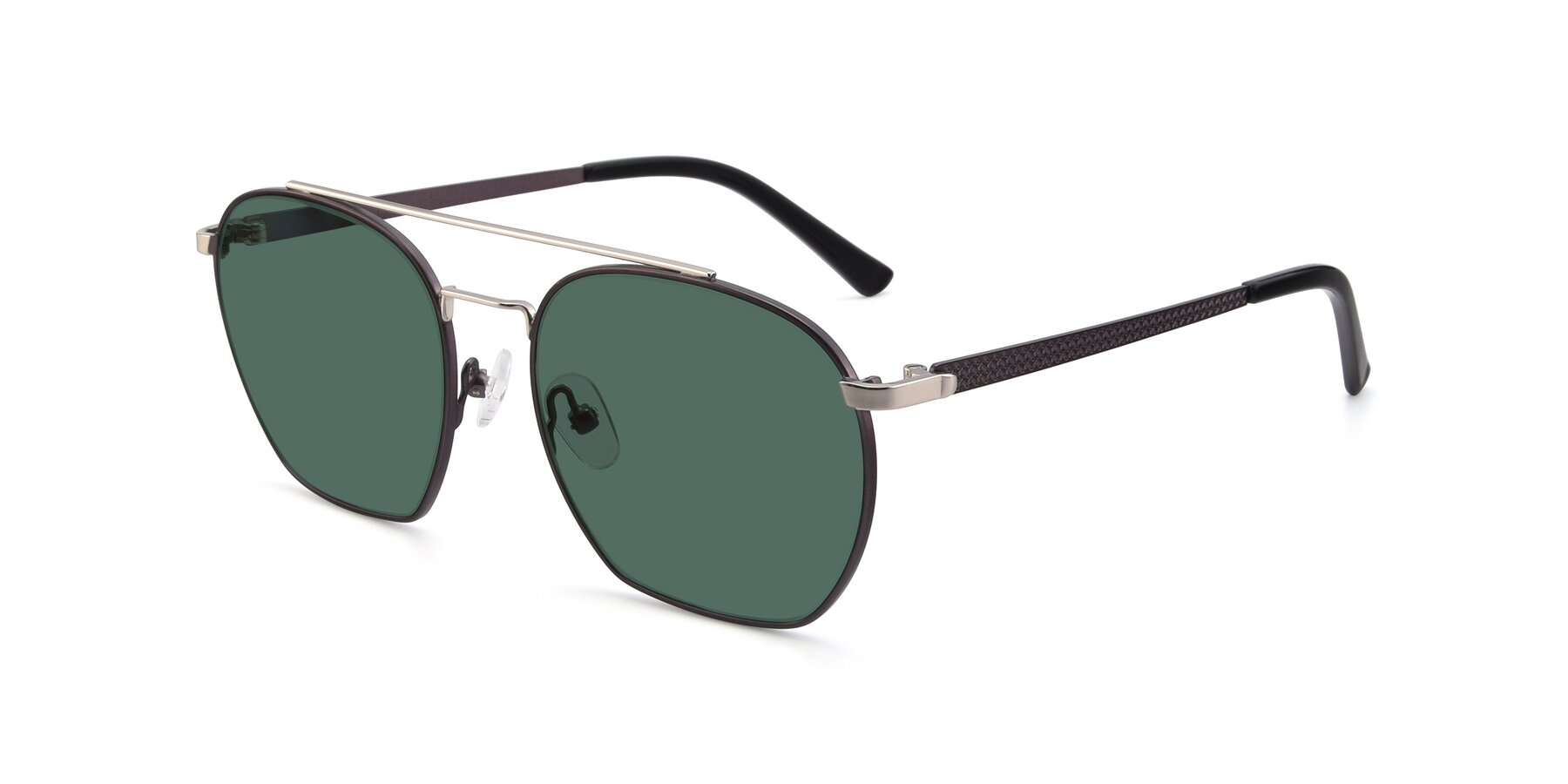 Angle of 9425 in Black-Silver with Green Polarized Lenses