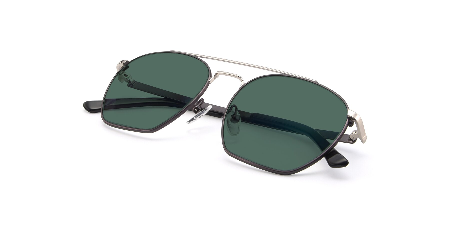 View of 9425 in Black-Silver with Green Polarized Lenses