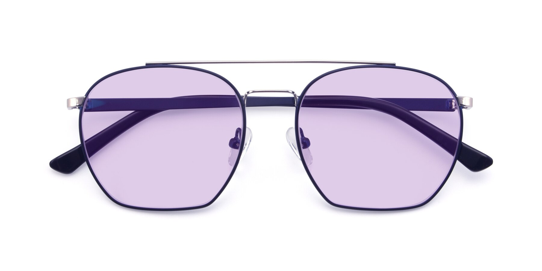 Folded Front of 9425 in Blue-Silver with Light Purple Tinted Lenses