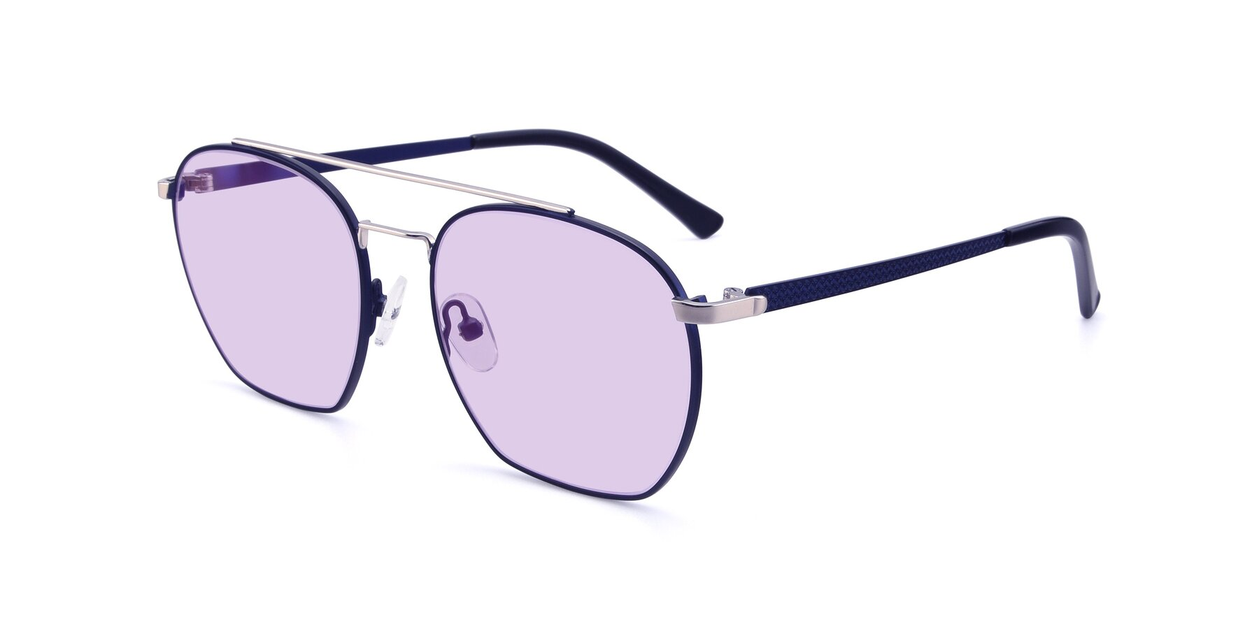 Angle of 9425 in Blue-Silver with Light Purple Tinted Lenses