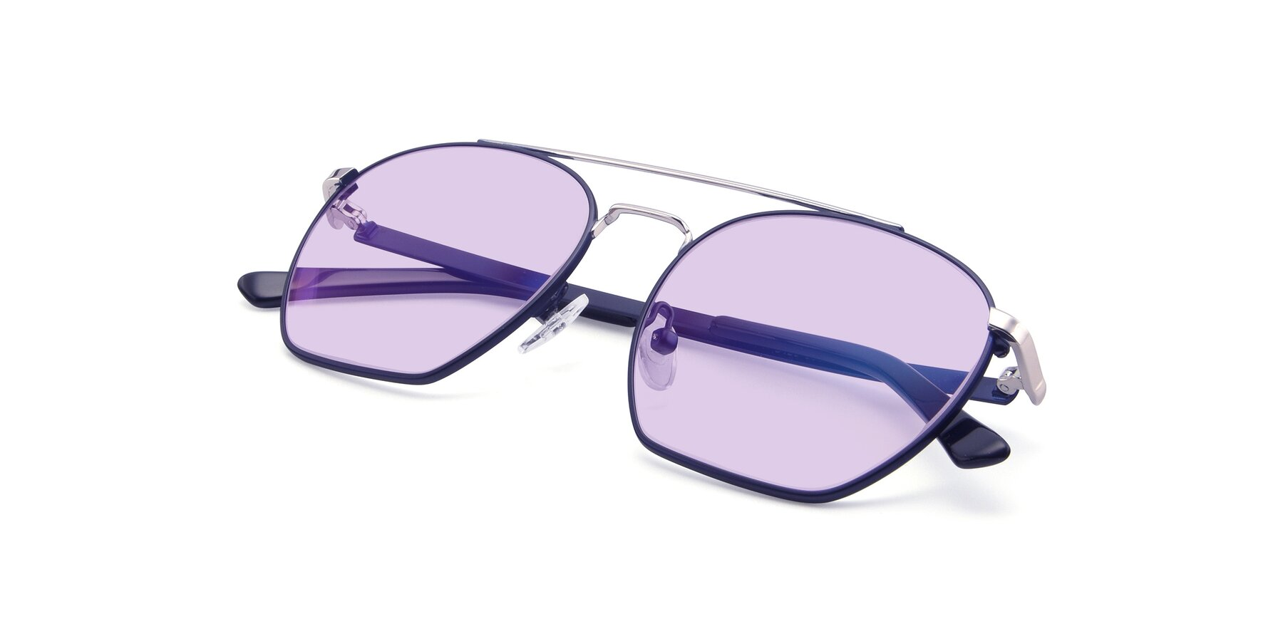 View of 9425 in Blue-Silver with Light Purple Tinted Lenses