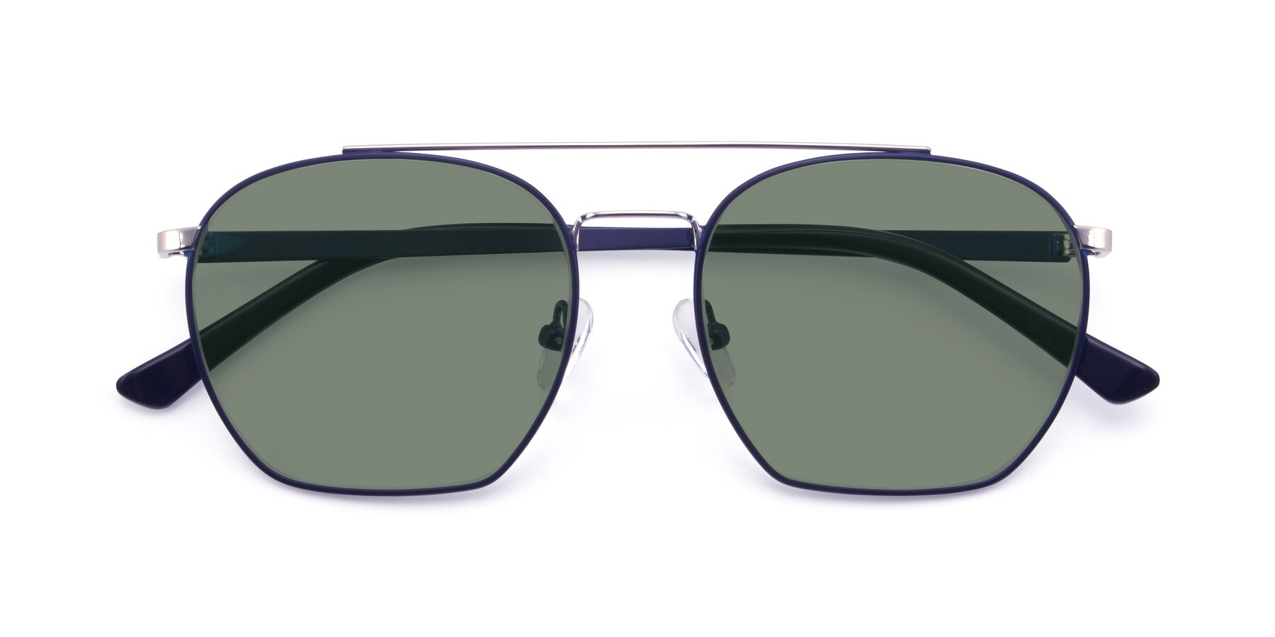 Folded Front of 9425 in Blue-Silver with Medium Green Tinted Lenses