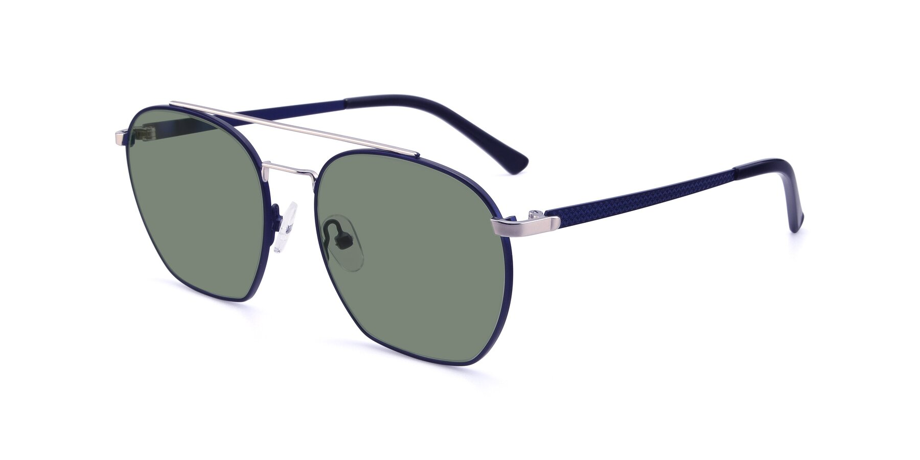 Angle of 9425 in Blue-Silver with Medium Green Tinted Lenses
