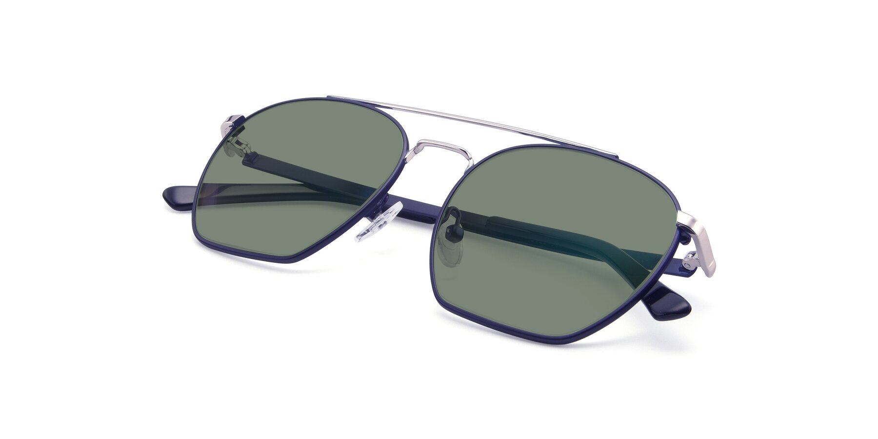View of 9425 in Blue-Silver with Medium Green Tinted Lenses