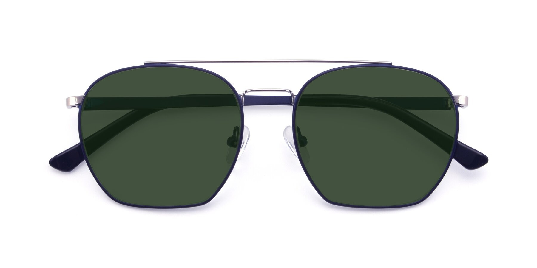 Folded Front of 9425 in Blue-Silver with Green Tinted Lenses