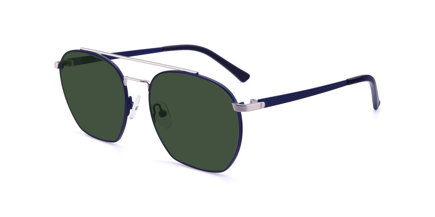 Angle of 9425 in Blue-Silver with Green Tinted Lenses