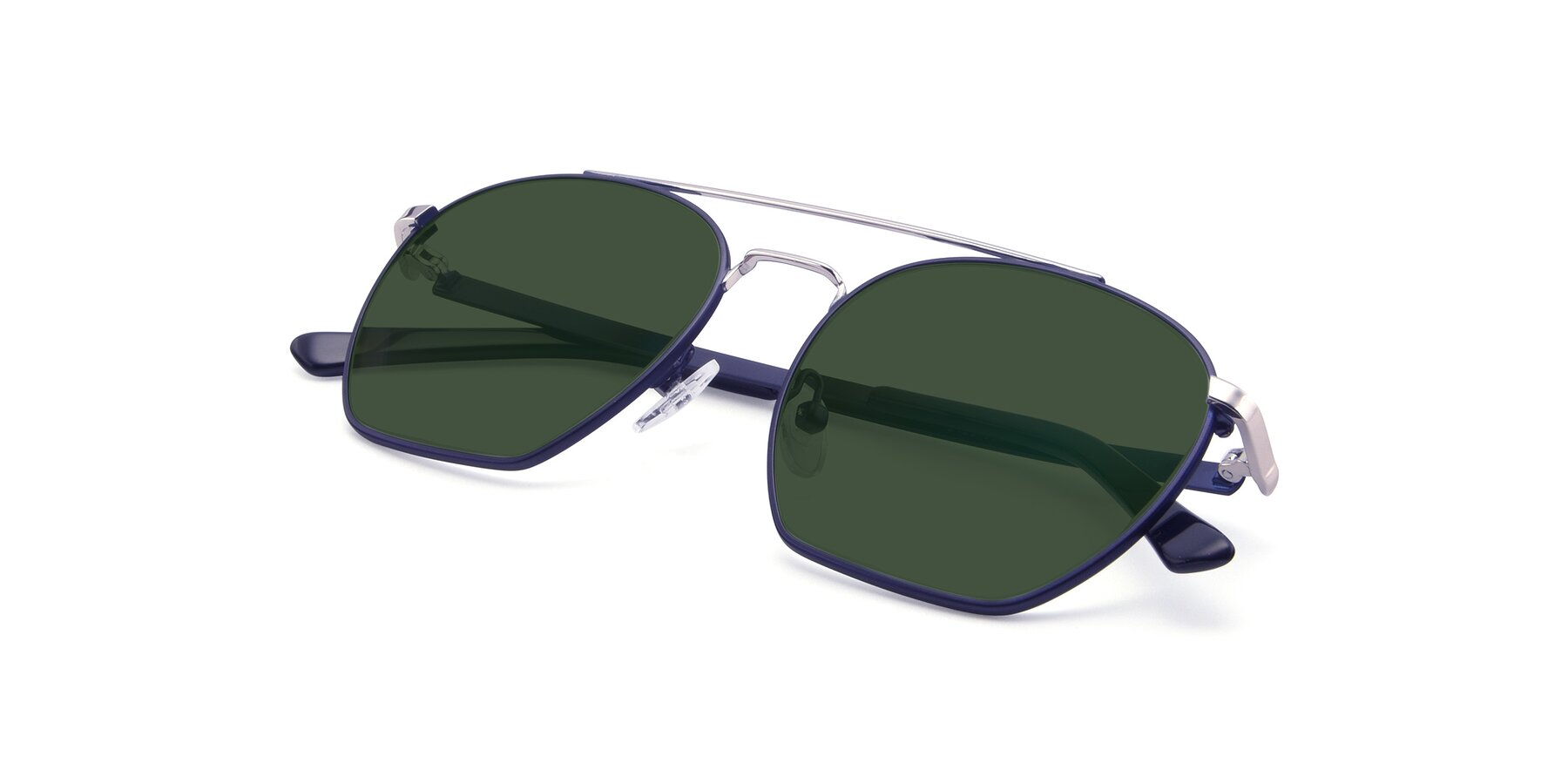 View of 9425 in Blue-Silver with Green Tinted Lenses