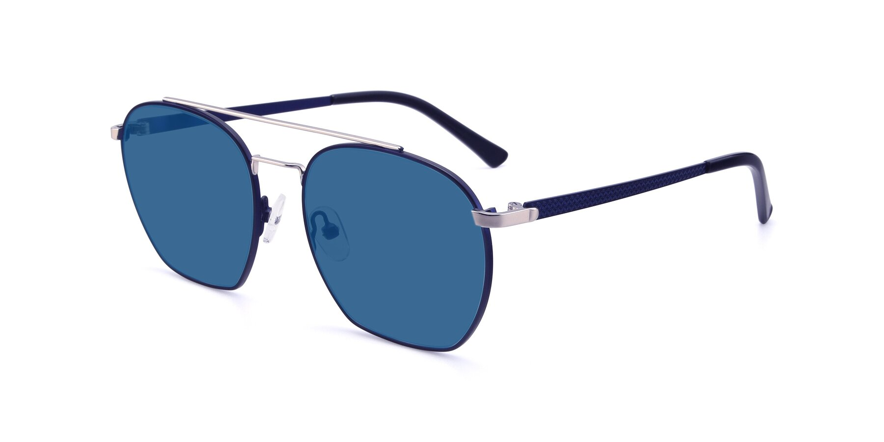 Angle of 9425 in Blue-Silver with Blue Tinted Lenses