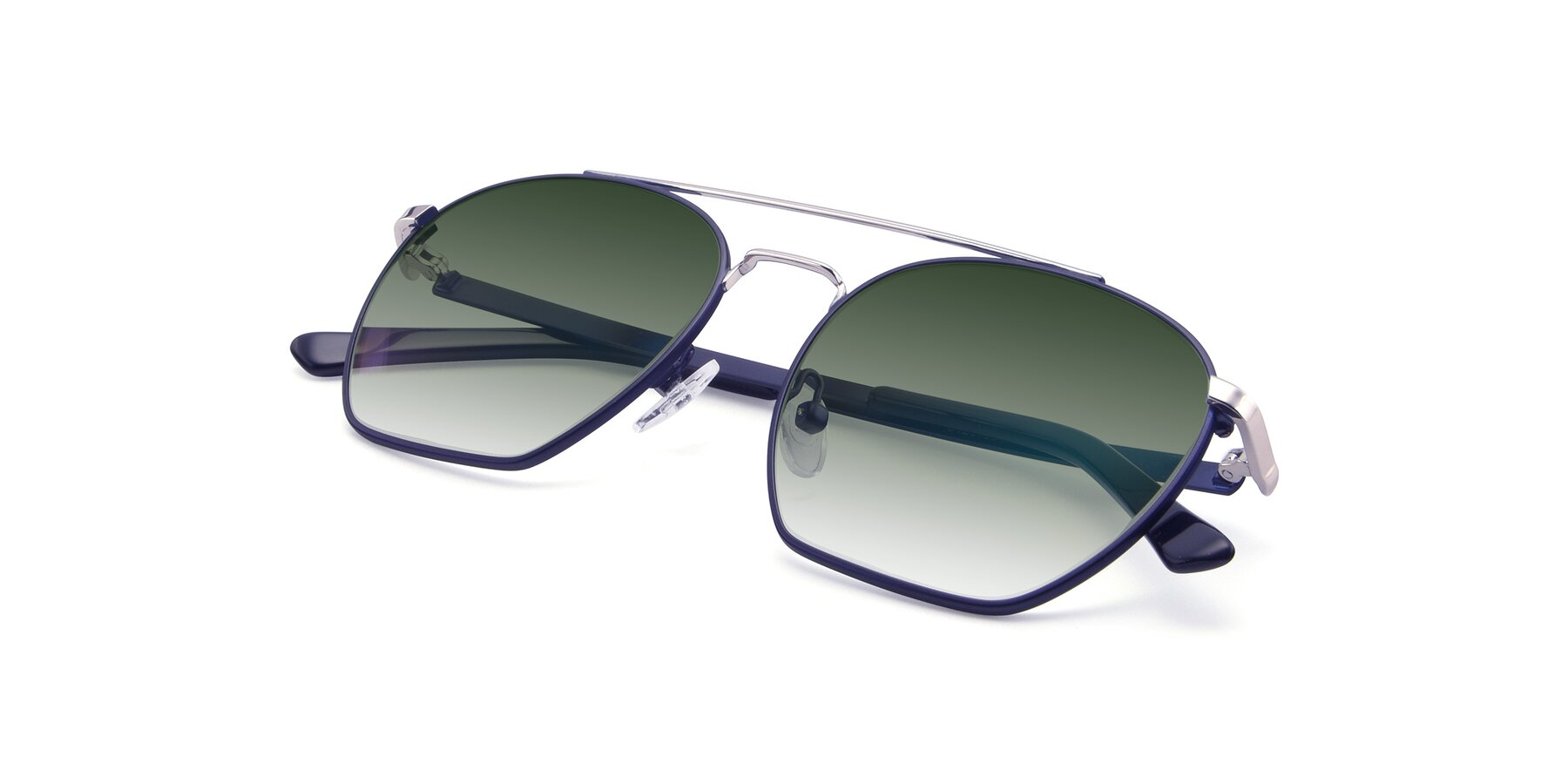 View of 9425 in Blue-Silver with Green Gradient Lenses