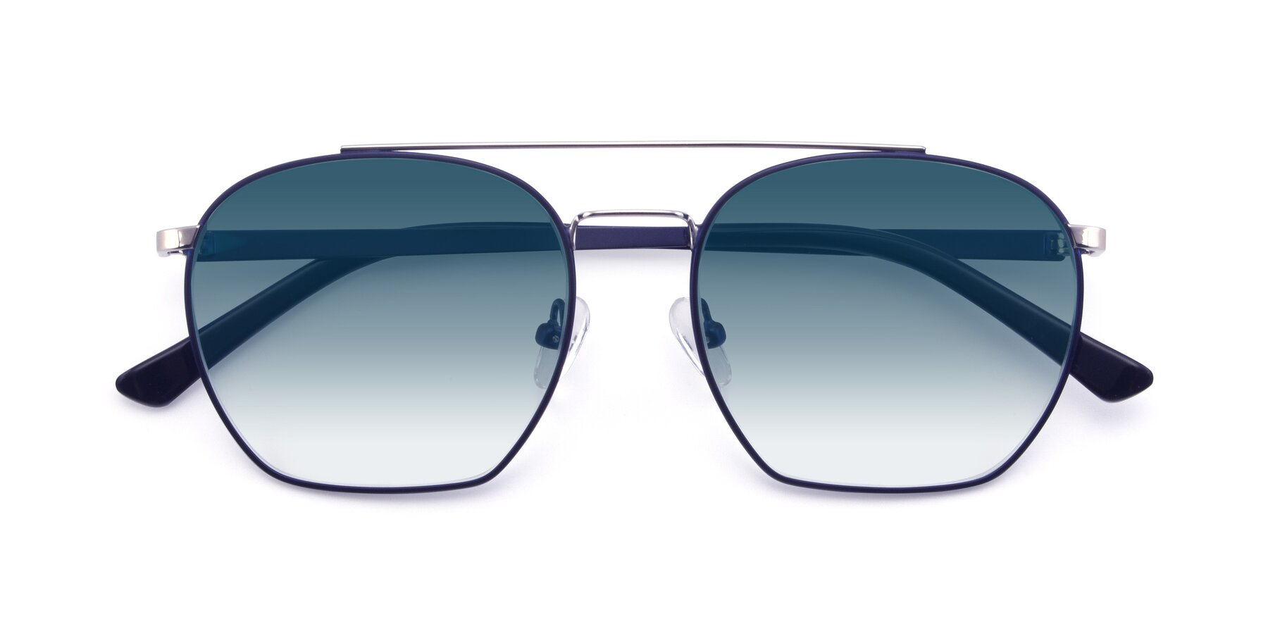 Folded Front of 9425 in Blue-Silver with Blue Gradient Lenses