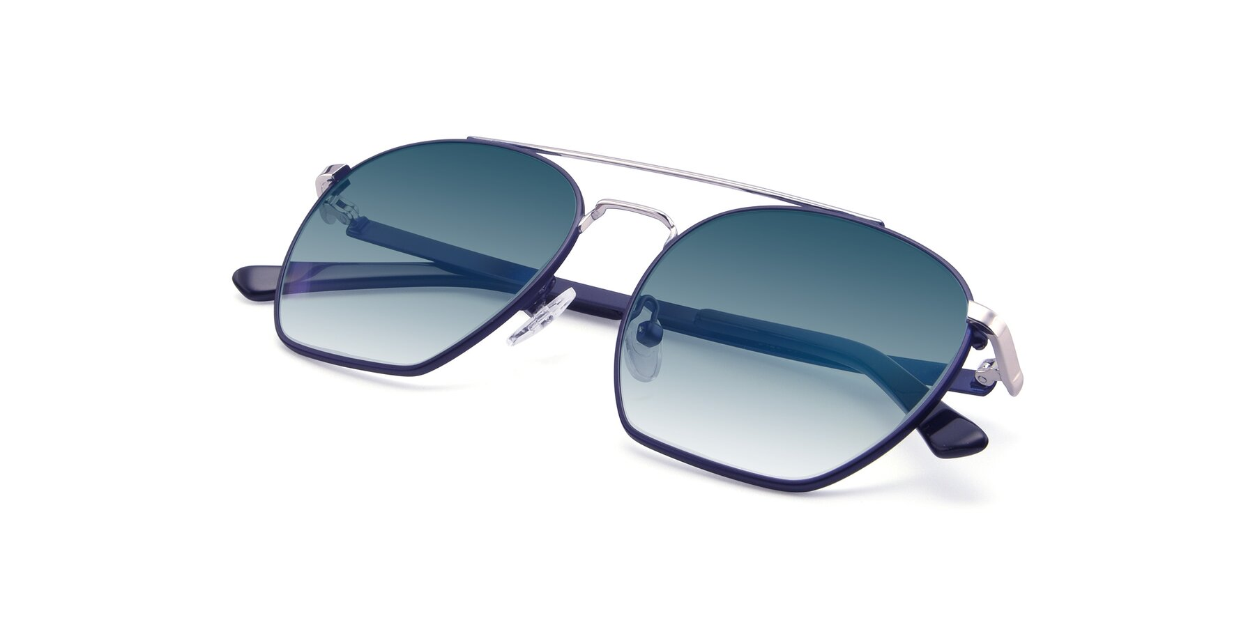 View of 9425 in Blue-Silver with Blue Gradient Lenses