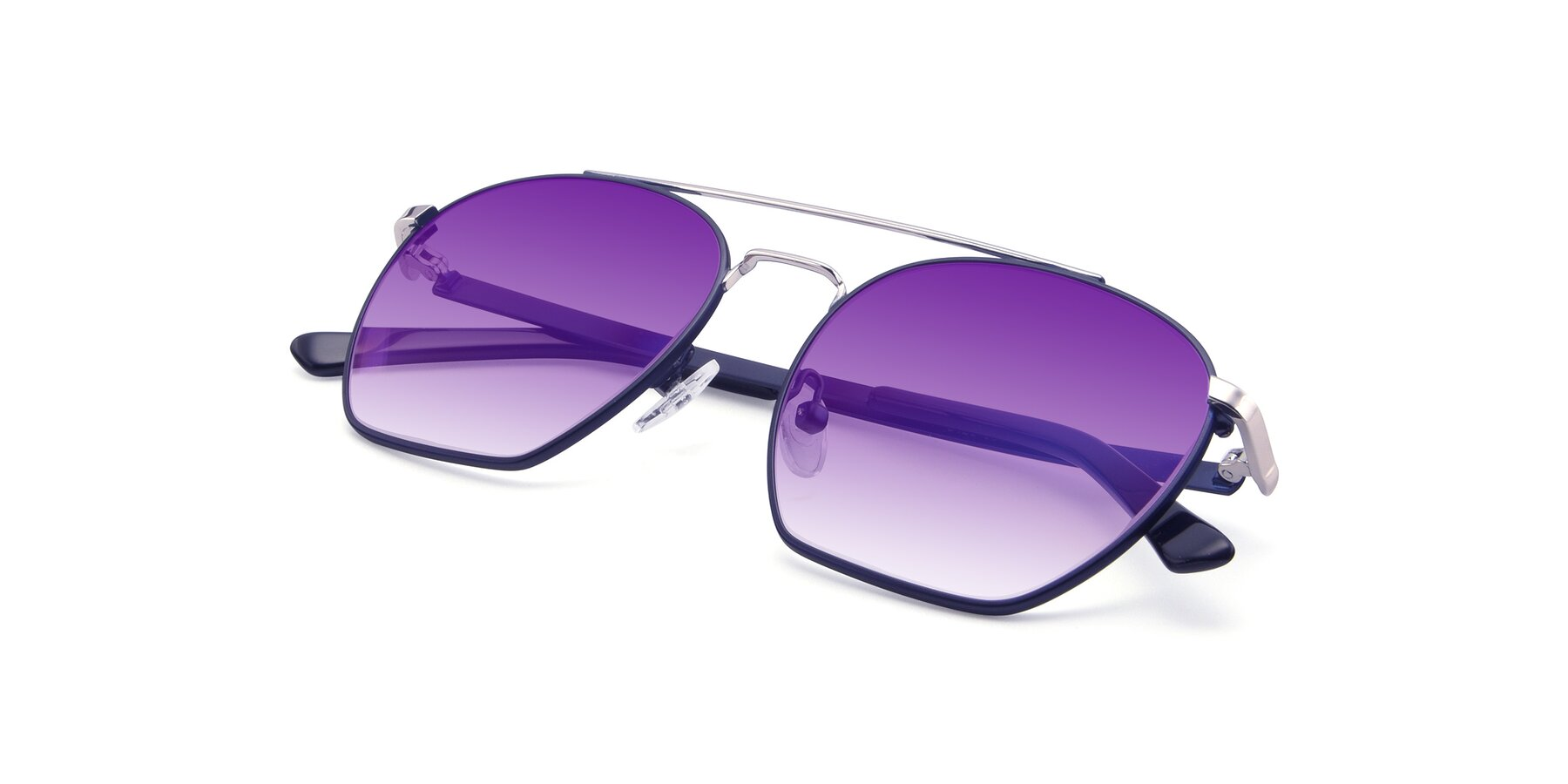View of 9425 in Blue-Silver with Purple Gradient Lenses