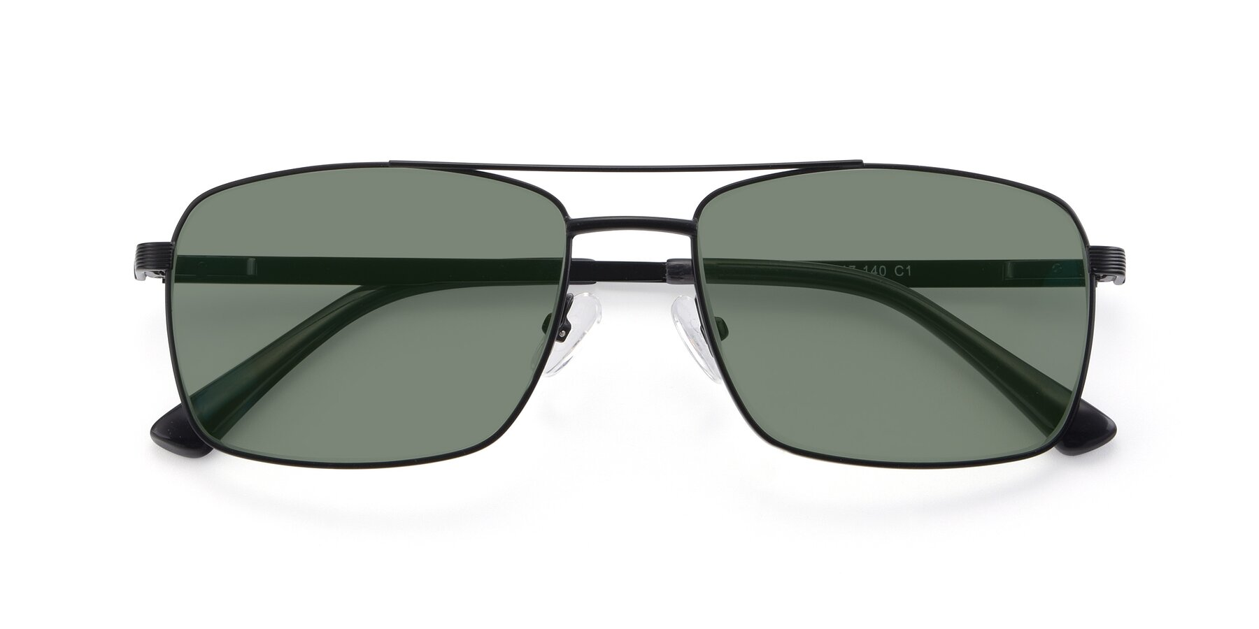 Folded Front of 9469 in Black with Medium Green Tinted Lenses