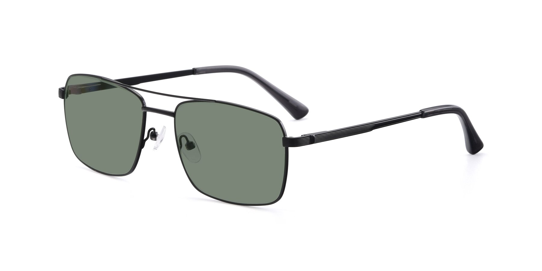 Angle of 9469 in Black with Medium Green Tinted Lenses
