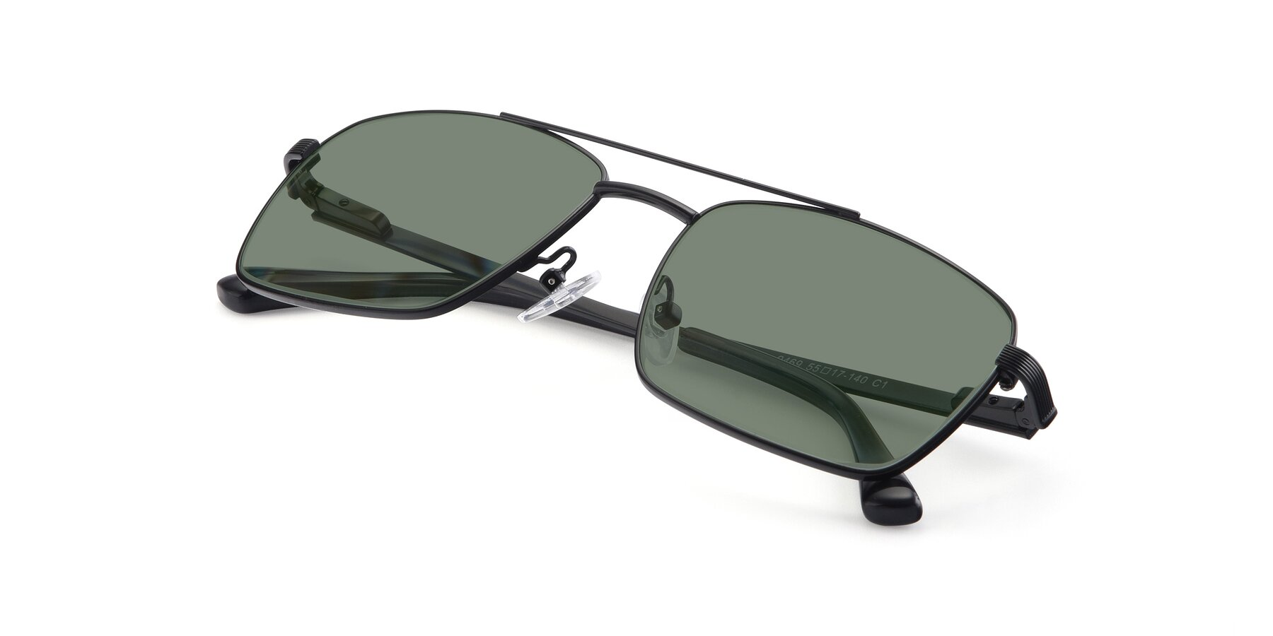 View of 9469 in Black with Medium Green Tinted Lenses