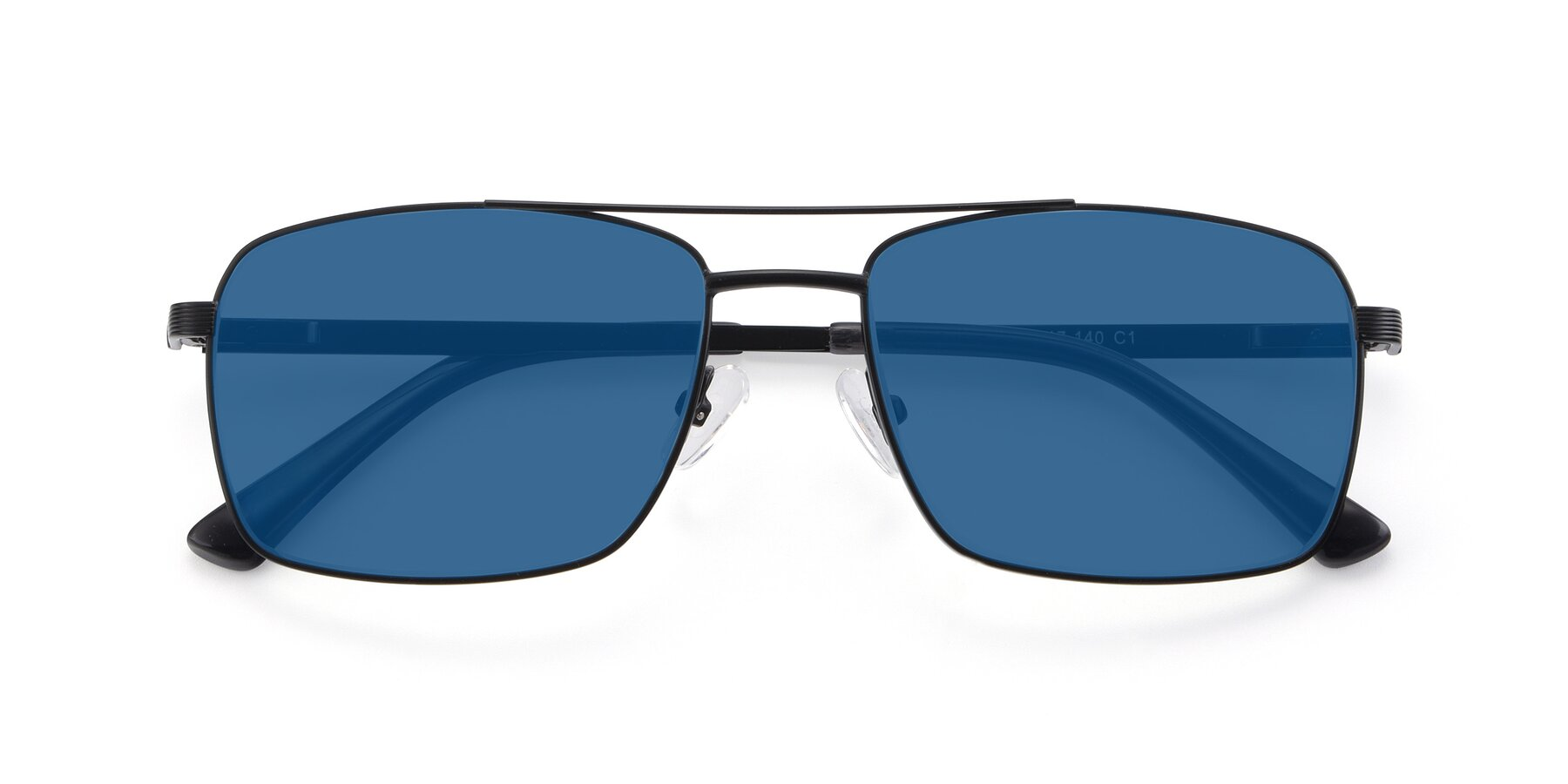 Folded Front of 9469 in Black with Blue Tinted Lenses