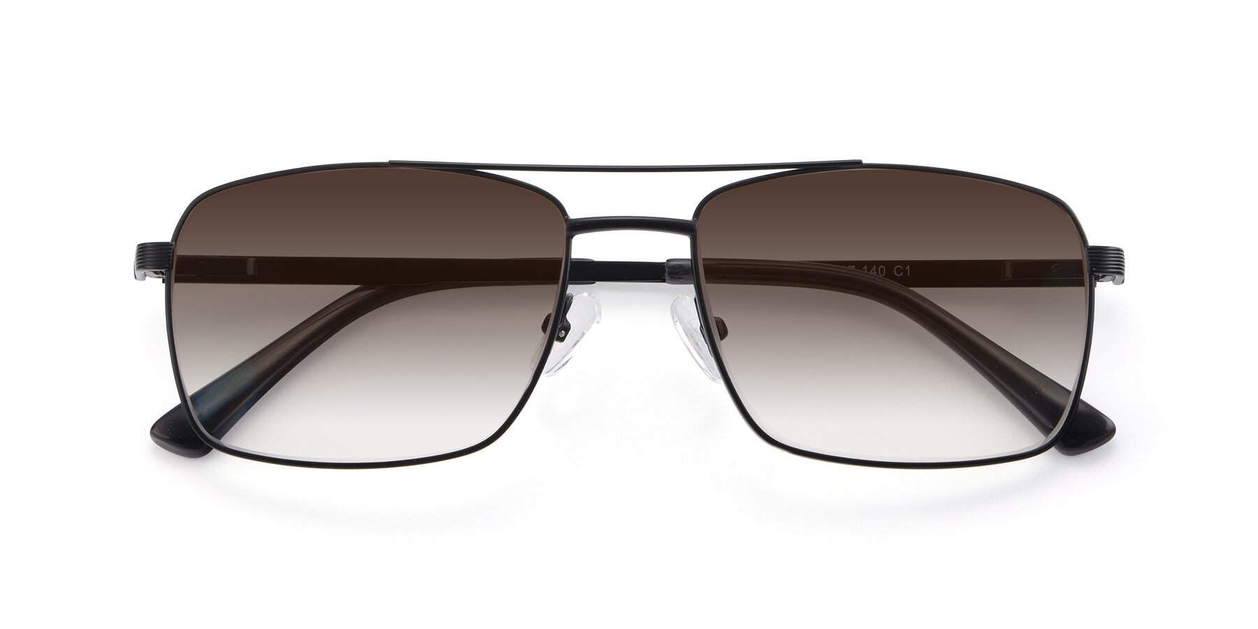 Folded Front of 9469 in Black with Brown Gradient Lenses