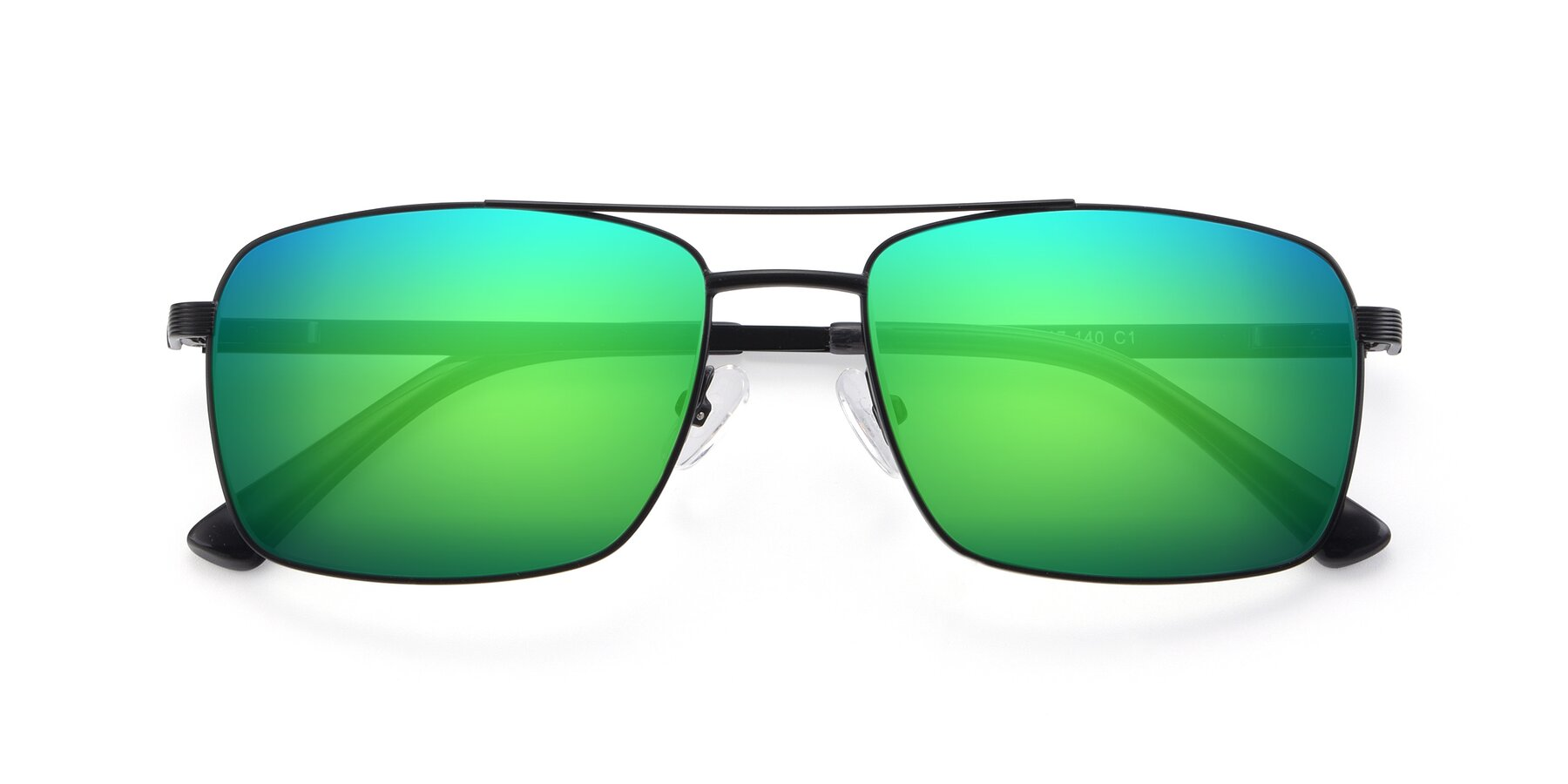 Folded Front of 9469 in Black with Green Mirrored Lenses