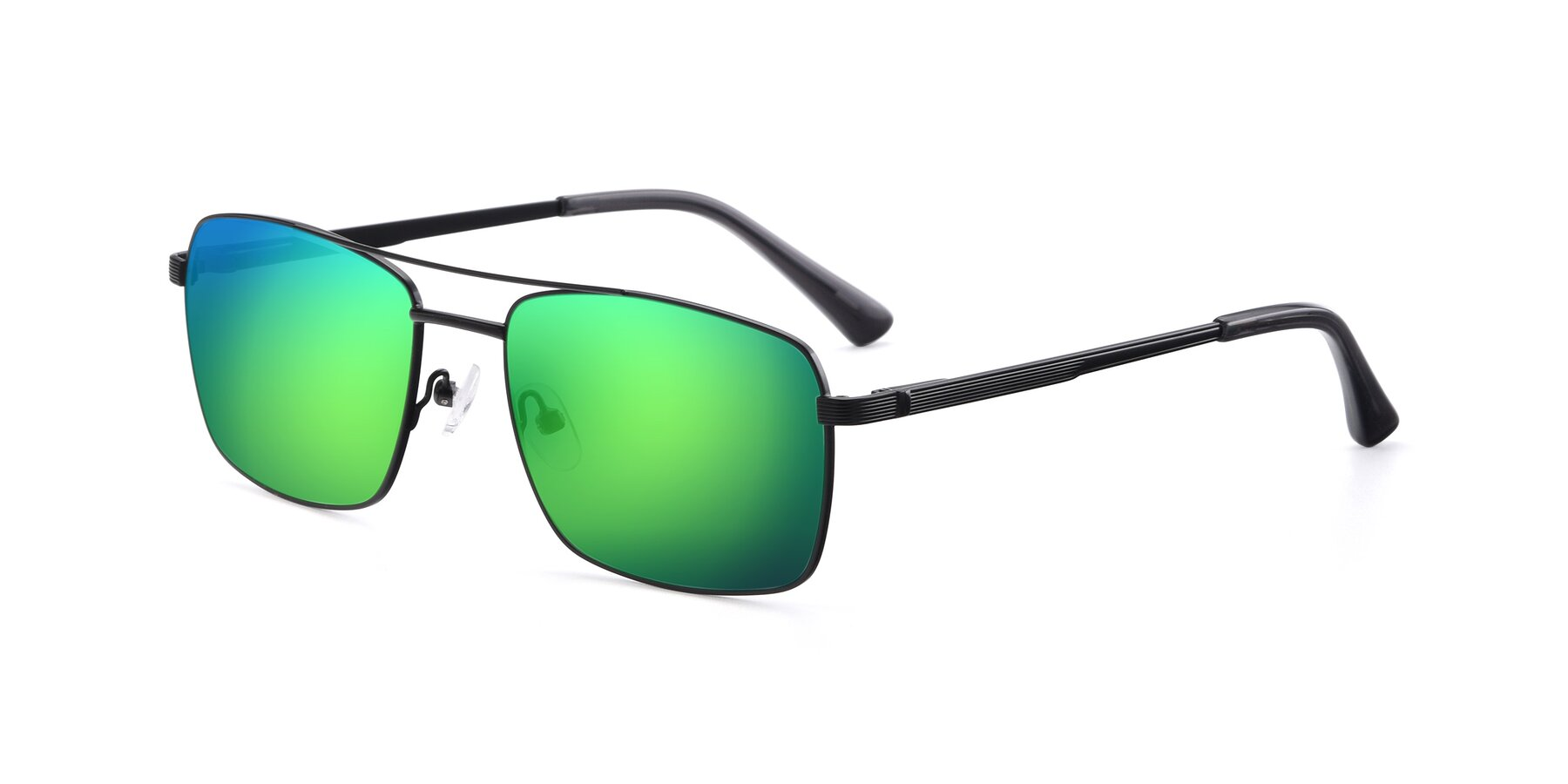 Angle of 9469 in Black with Green Mirrored Lenses
