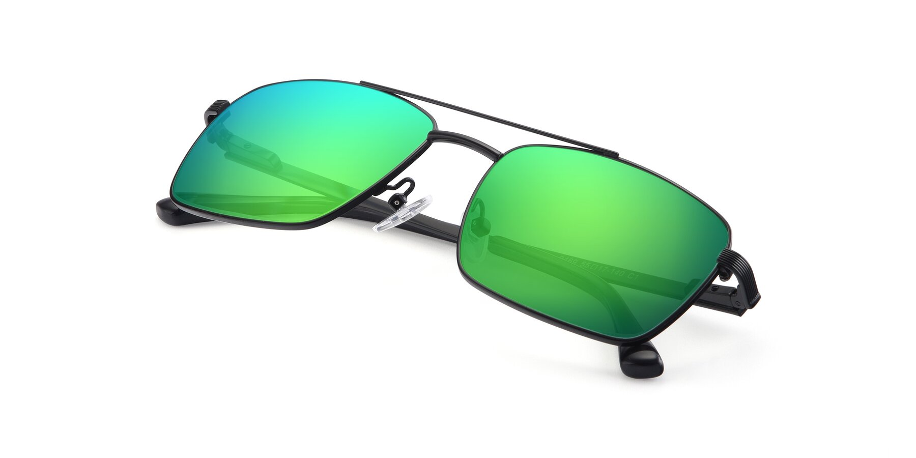 View of 9469 in Black with Green Mirrored Lenses