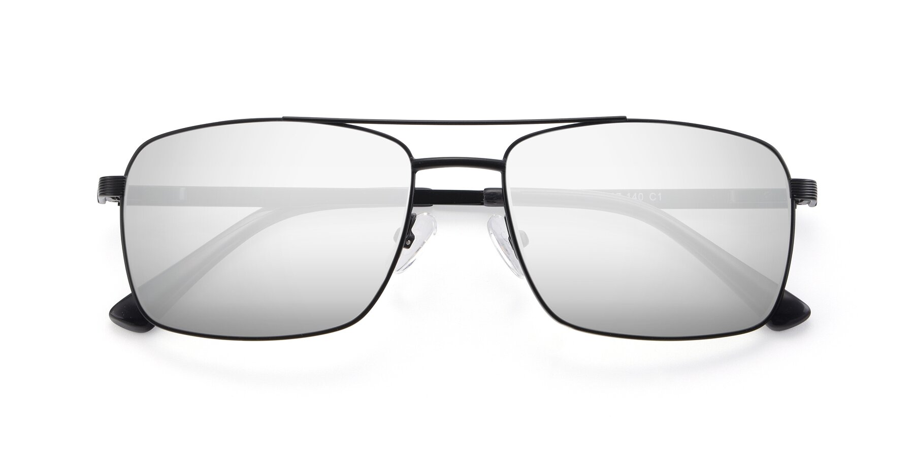 Folded Front of 9469 in Black with Silver Mirrored Lenses