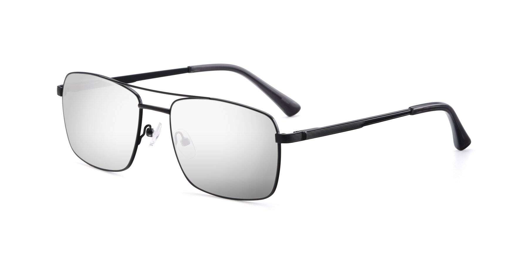 Angle of 9469 in Black with Silver Mirrored Lenses