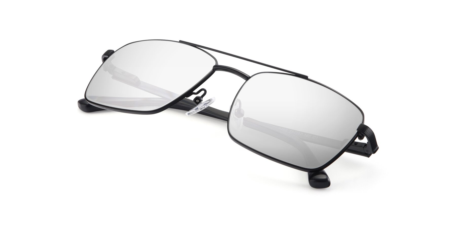 View of 9469 in Black with Silver Mirrored Lenses
