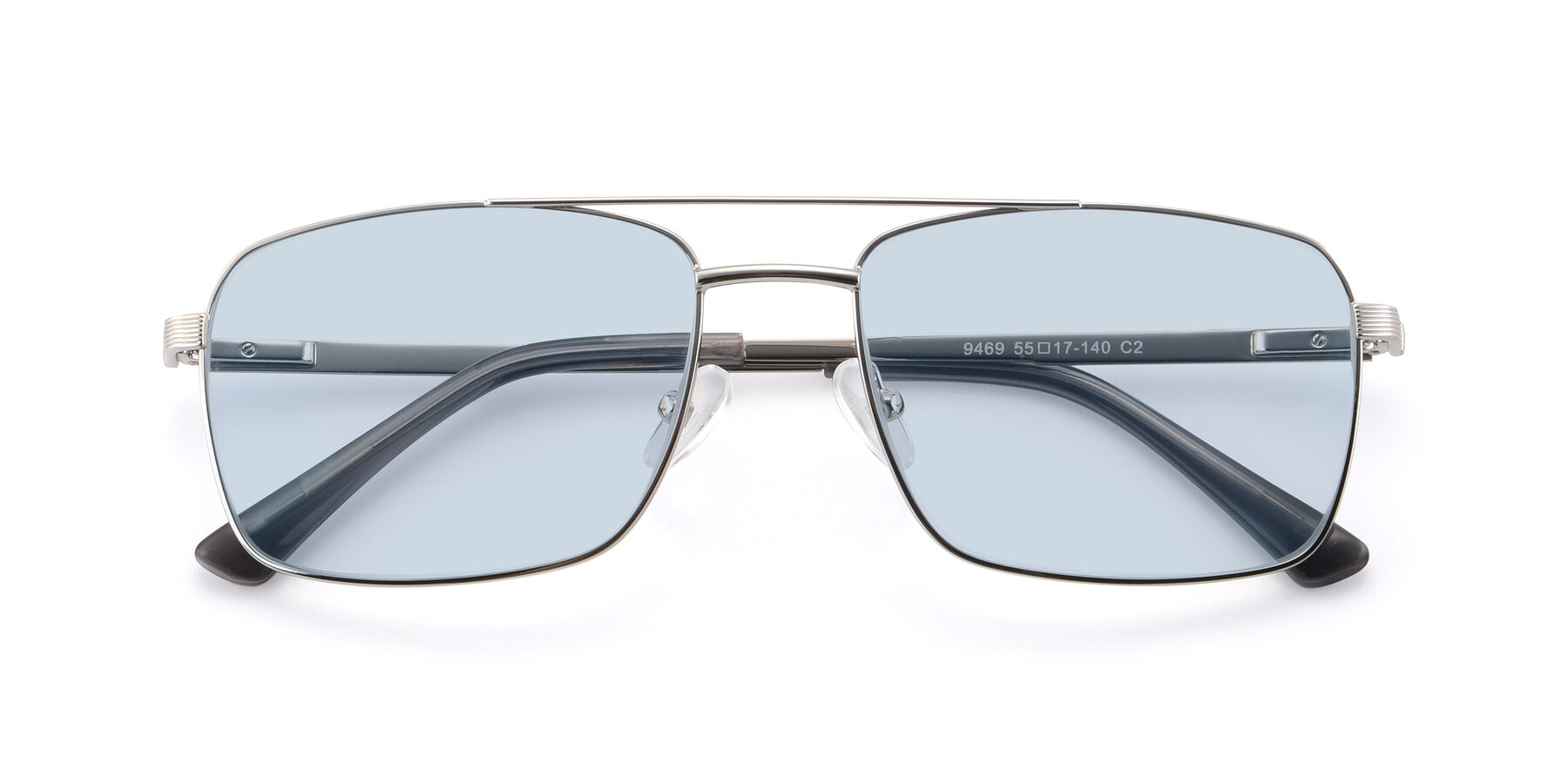 Folded Front of 9469 in Silver with Light Blue Tinted Lenses