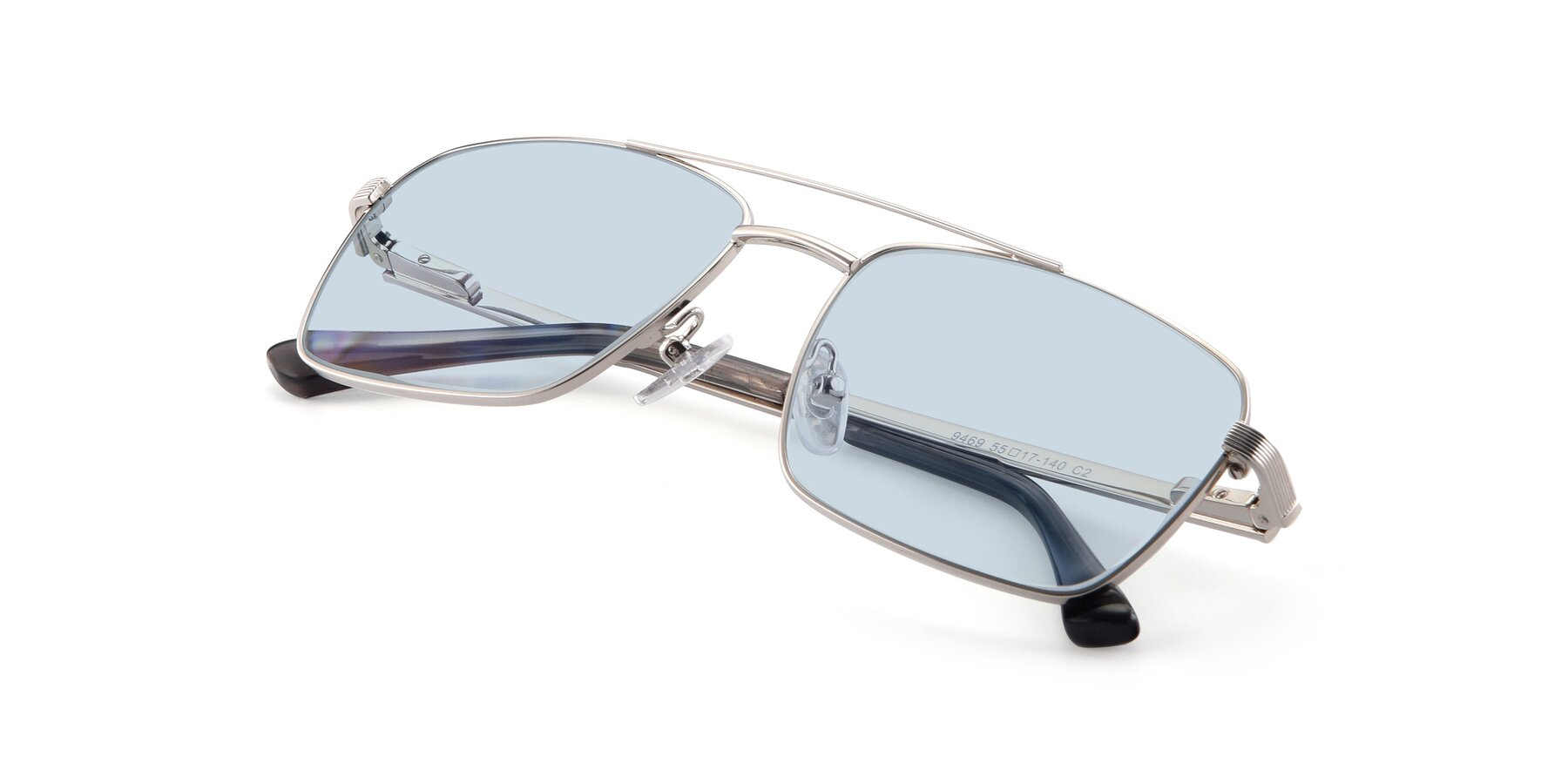 View of 9469 in Silver with Light Blue Tinted Lenses