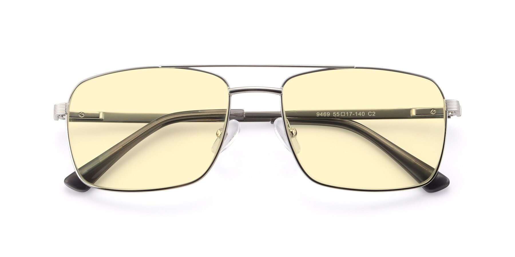 Folded Front of 9469 in Silver with Light Yellow Tinted Lenses