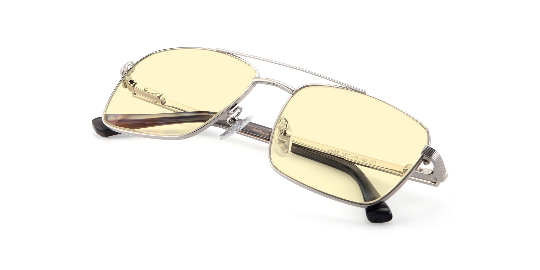 View of 9469 in Silver with Light Yellow Tinted Lenses