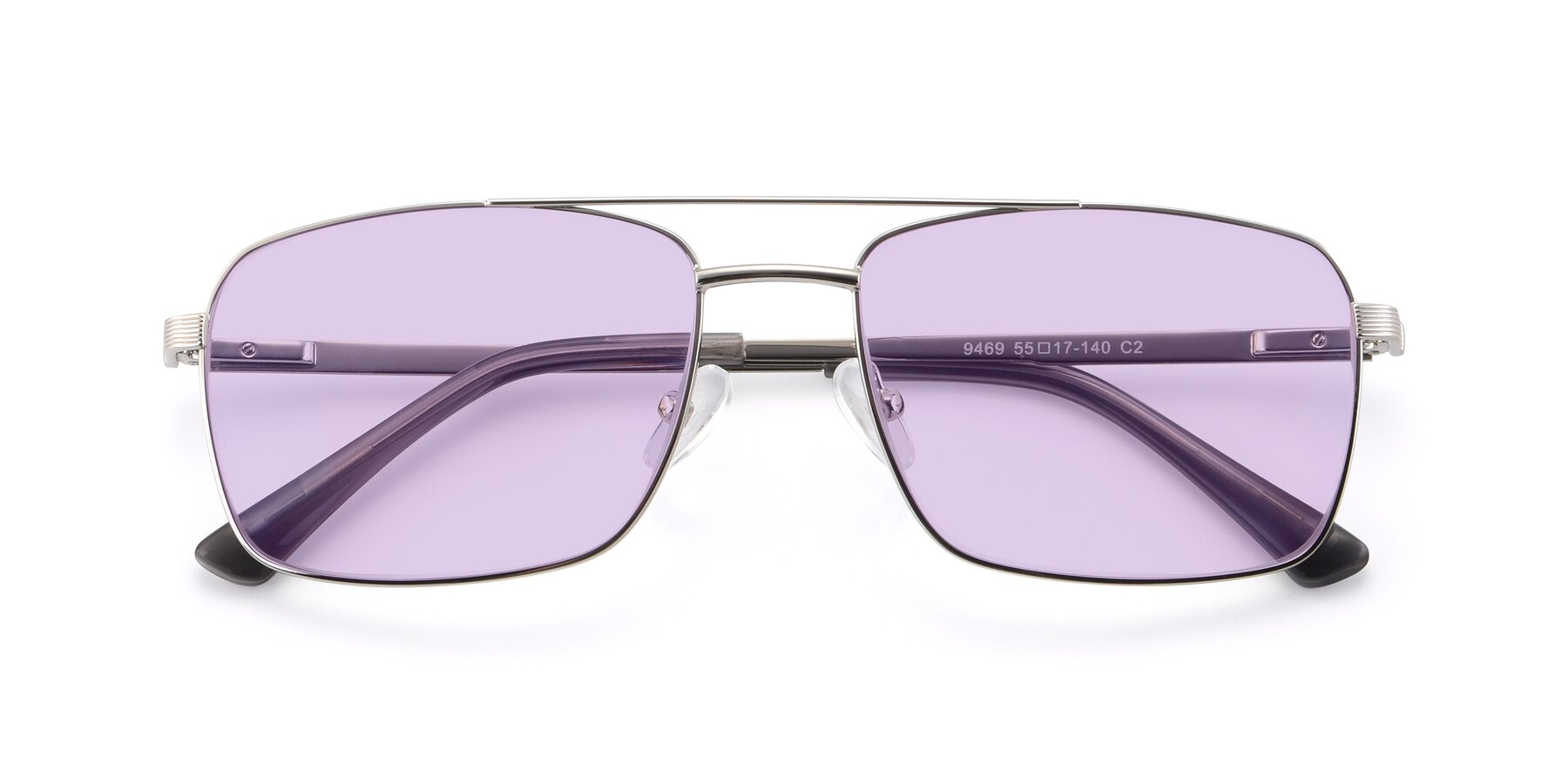 Folded Front of 9469 in Silver with Light Purple Tinted Lenses