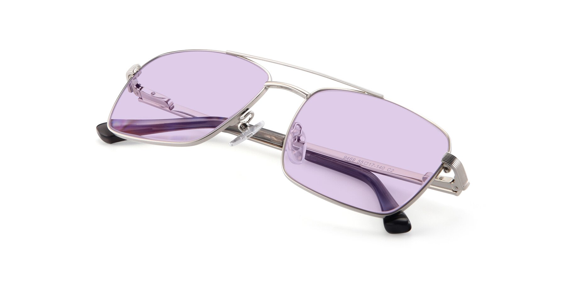 View of 9469 in Silver with Light Purple Tinted Lenses