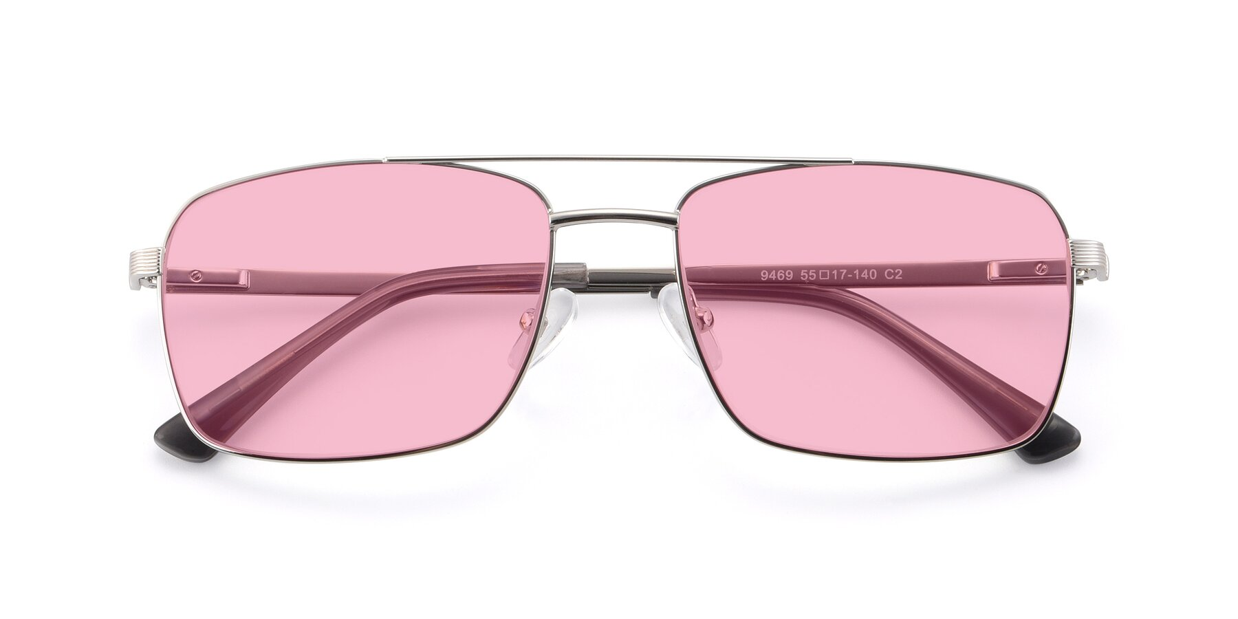 Folded Front of 9469 in Silver with Medium Pink Tinted Lenses