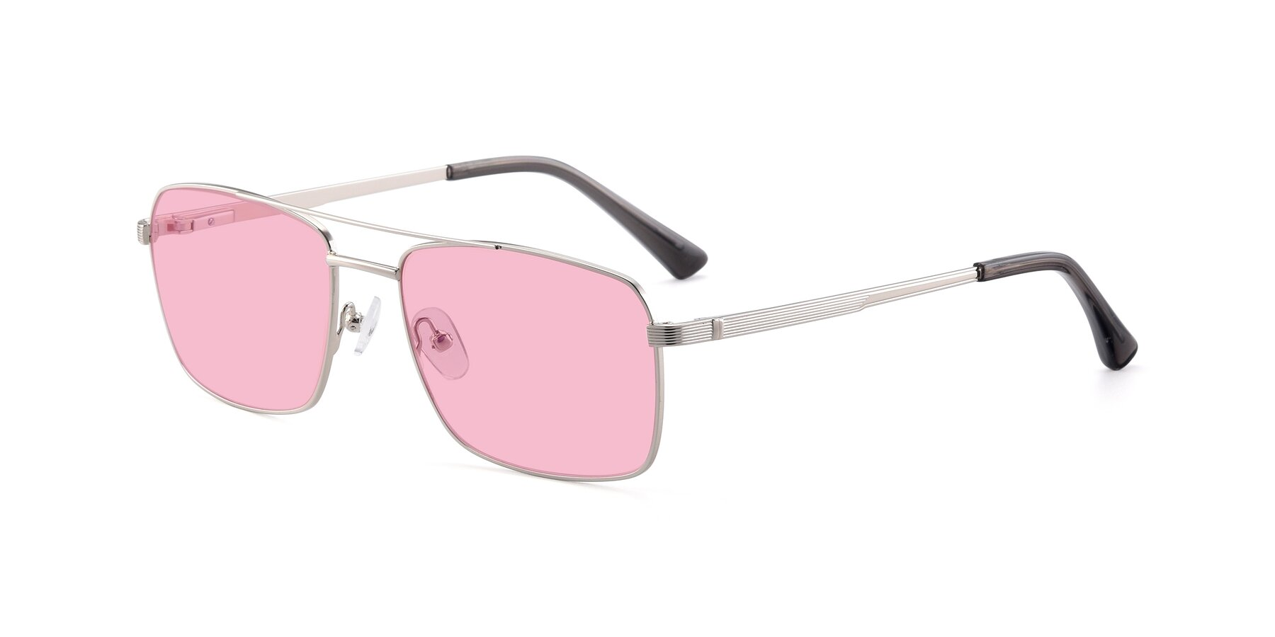 Angle of 9469 in Silver with Medium Pink Tinted Lenses