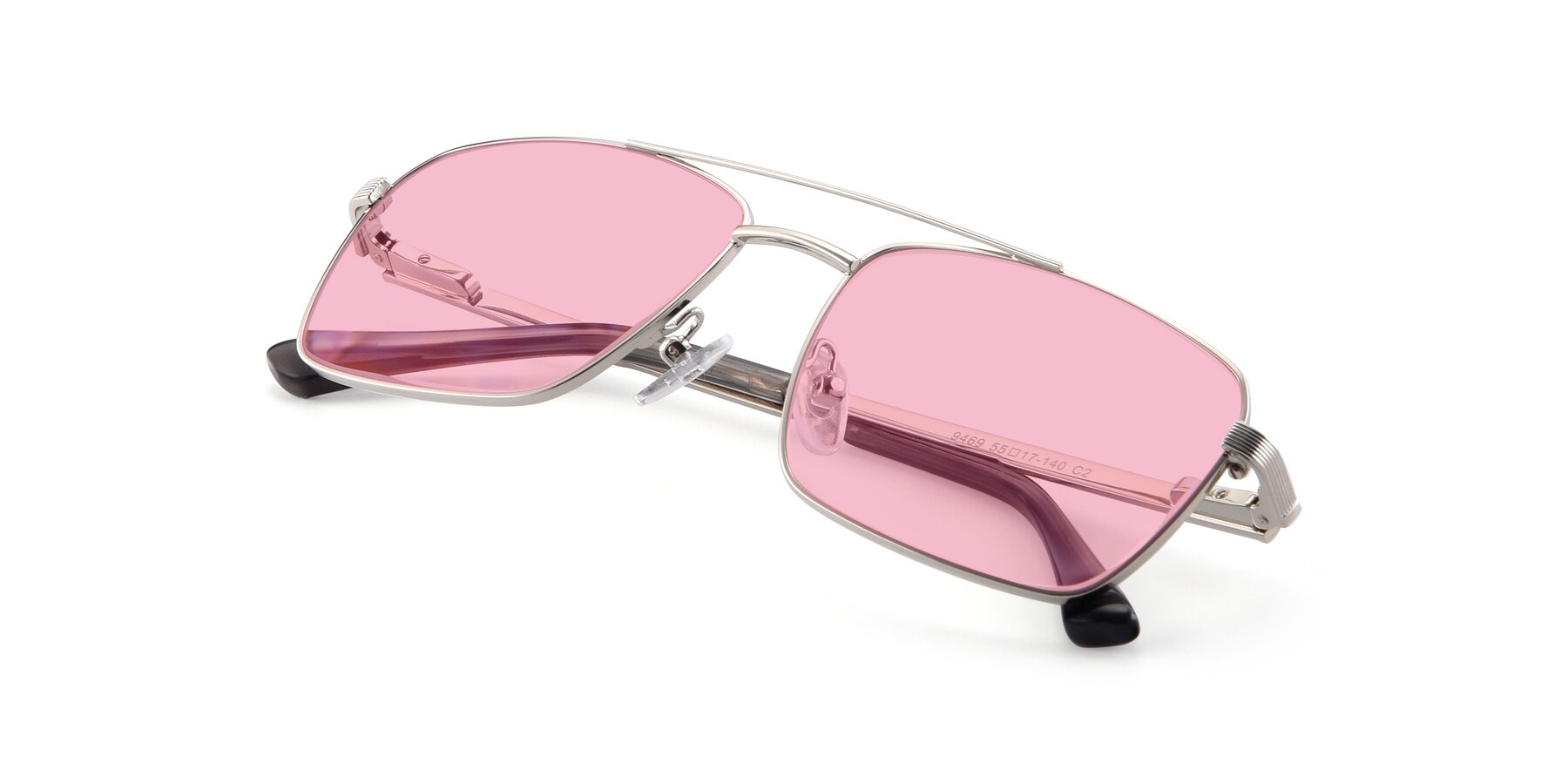 View of 9469 in Silver with Medium Pink Tinted Lenses